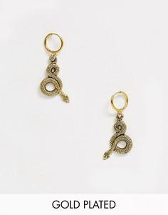 Серьги-кольца с покрытием 18-каратным золотом и подвесками-змеями Regal Rose-Золотой