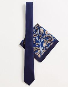 Комплект из узкого галстука и платка для нагрудного кармана темно-синего цвета с принтом пейсли ASOS DESIGN-Темно-синий