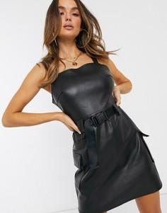 Черное платье мини из искусственной кожи с ремнем Missguided-Черный