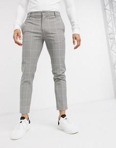 Серые брюки скинни в клетку River Island-Серый