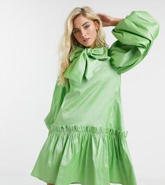 Свободное oversize-платье с объемными рукавами Sister Jane-Зеленый