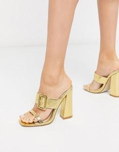 Золотистые мюли с пряжкой Missguided-Золотой