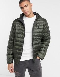 Двусторонняя дутая куртка с капюшоном синего и зеленого цвета Polo Ralph Lauren-Темно-синий