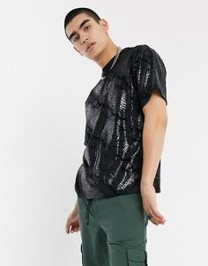 Черная фактурная футболка со змеиным принтом Milk It Vintage-Черный