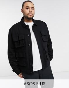 Черная джинсовая куртка с карманами в стиле милитари ASOS DESIGN Plus-Черный