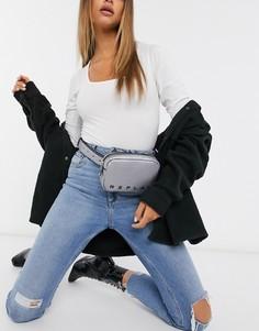 Кожаная сумка-кошелек на пояс с эффектом металлик и логотипом Replay-Серебряный
