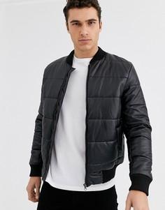 Джинсовая дутая куртка с покрытием Le Breve-Черный