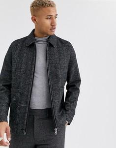 Серая куртка Харрингтон в клетку с добавлением шерсти ASOS DESIGN-Черный
