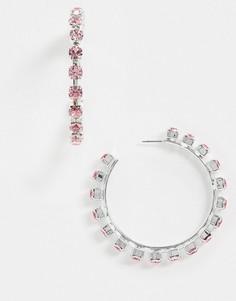 Массивные серьги-кольца с кристаллами Swarovski Krystal London-Розовый