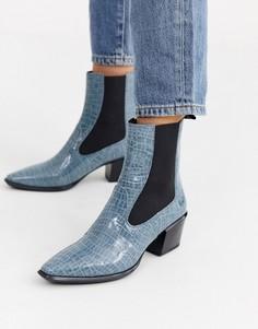 Синие кожаные ботильоны на каблуке с крокодиловым рисунком Vagabond Betsy-Синий
