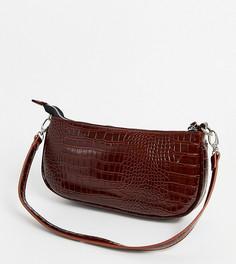Коричневая лакированная сумка на плечо в стиле 90-х с эффектом крокодиловой кожи My Accessories London-Коричневый