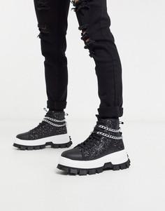 Черные блестящие высокие кроссовки с цепочками ASOS EDITION-Черный