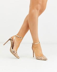 Золотистые туфли на шпильке с вырезами ASOS DESIGN-Золотой