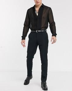 Черные плотные строгие брюки скинни под смокинг ASOS DESIGN-Черный