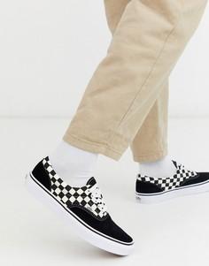 Черно-белые туфли в клетку Vans-Черный