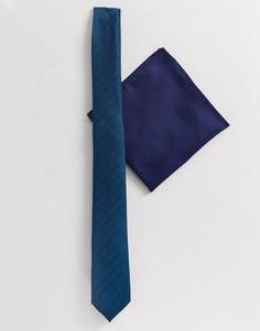 Сине-зеленый узкий галстук и платок для нагрудного кармана ASOS DESIGN-Синий