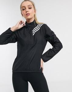 Черная куртка на молнии с 3 полосками adidas Running-Черный