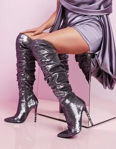 Ботфорты на каблуке-шпильке с серебристыми пайетками ASOS DESIGN-Серебряный