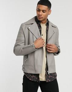 Серая байкерская куртка из искусственной кожи ASOS DESIGN-Бежевый