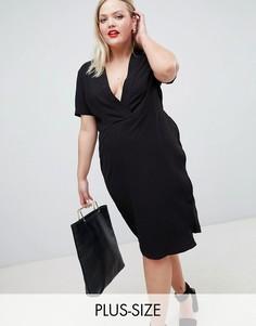 Приталенное платье с запахом Unique 21 Hero-Черный