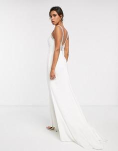 Свадебное платье с V-образным вырезом и кристаллами на бретельках ASOS EDITION-Белый