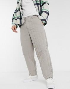 Суженные книзу стеганые брюки серого цвета ASOS WHITE-Серый