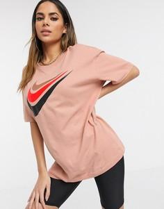 Oversized-футболка бойфренда цвета розового золота Nike-Золотой