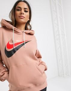 Oversized-худи цвета розового золота Nike-Золотой