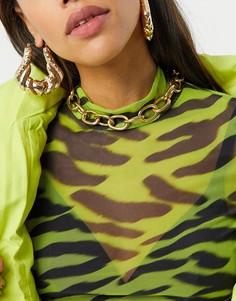 Золотистое ожерелье-чокер с крупными звеньями Glamorous-Золотой