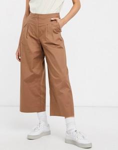 Бежевые укороченные брюки Selected Femme-Коричневый