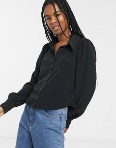 Черная рубашка с пышными рукавами Monki-Черный