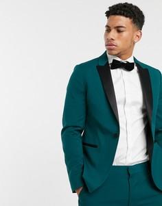 Зеленый приталенный пиджак-смокинг ASOS DESIGN