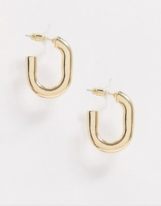 Золотистые массивные серьги-кольца DesignB London-Золотой