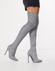 Светоотражающие высокие сапоги на каблуке-шпильке ASOS DESIGN-Серебряный