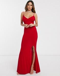 Платье макси на бретельках с разрезом до бедра Club L London-Красный