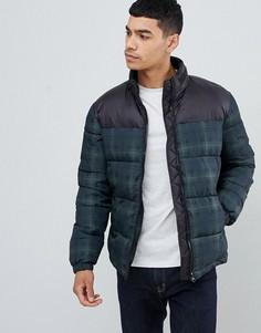Зеленая дутая куртка в клетку New Look-Темно-синий