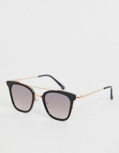 Черно-золотистые металлические солнцезащитные очки с зеркальными стеклами ASOS DESIGN-Черный