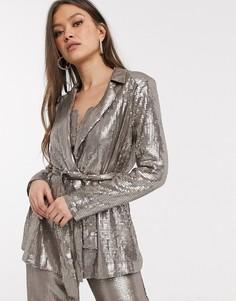 Мягкая куртка с пайетками от комплекта ASOS DESIGN-Серебряный
