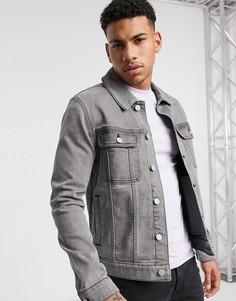 Серая джинсовая куртка зауженного кроя ASOS DESIGN-Серый