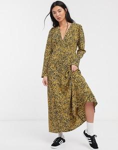 Платье макси с пестрым желтым принтом Selected Femme-Мульти