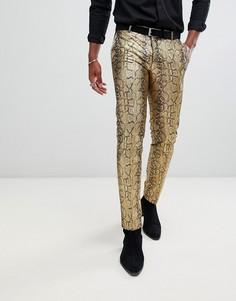 Облегающие брюки золотистого цвета с эффектом змеиной кожи Twisted Tailor-Золотой