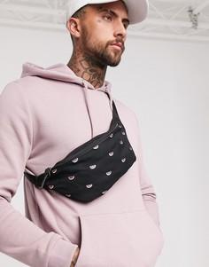 Черная сумка-кошелек с вышитыми дольками арбуза ASOS DESIGN-Черный