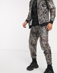 Джоггеры узкого кроя от комплекта с леопардовым принтом ASOS DESIGN-Серебряный