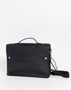 Черный кожаный портфель ASOS DESIGN