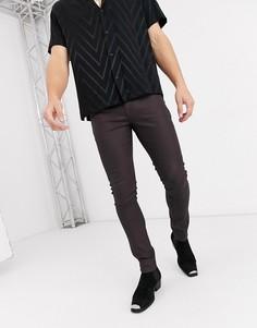 Коричневые супероблегающие джинсы из искусственной кожи с покрытием ASOS DESIGN-Коричневый