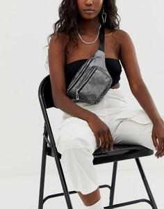Сумка-кошелек на пояс цвета металлик Yoki Fashion-Серебряный