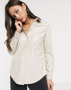 Кремовая рубашка из искусственной кожи New Look-Кремовый