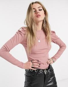 Розовая футболка в рубчик с пышными рукавами Bershka-Розовый
