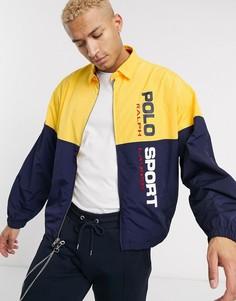 Нейлоновая куртка с темно-синими и желтыми вставками колор блок Polo Ralph Lauren Polo Sport Capsule-Темно-синий