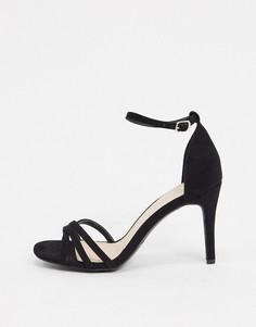 Босоножки на каблуке с квадратным носком и ремешками Miss KG-Черный